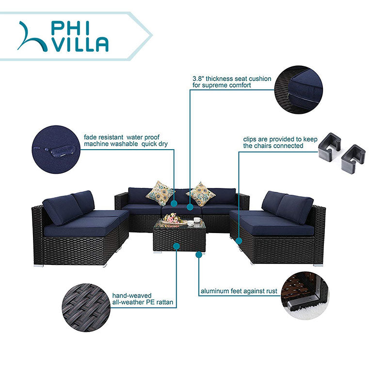 PHI VILLA 8-Piece Wicker Patio Outdoor Sectional Sofa