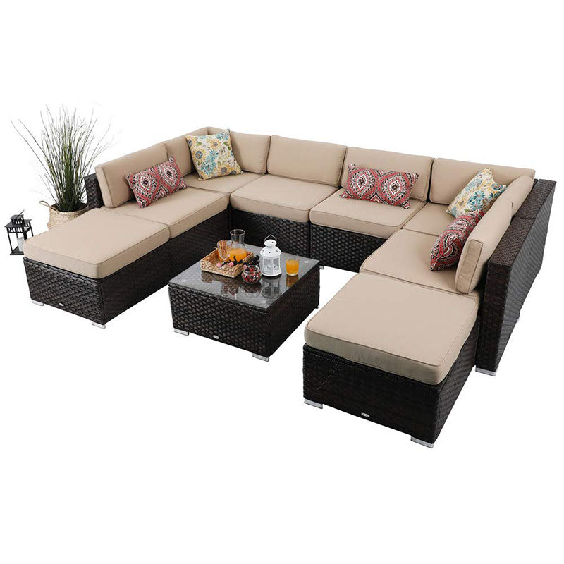 Phi Villa Rattan Sofa Outdoor Sectional Set Beige