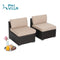 PHI VILLA Beige 2 Piece Patio Rattan Outdoor Sectional Sofa