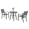 PHI VILLA Outdoor Metal Patio Bistro Set of 1 Round Table & Stackable Chairs