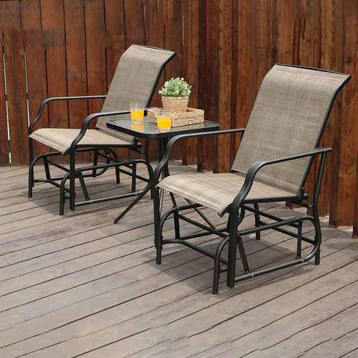 PHI VILLA 3 Piece Patio Swing Glider Set