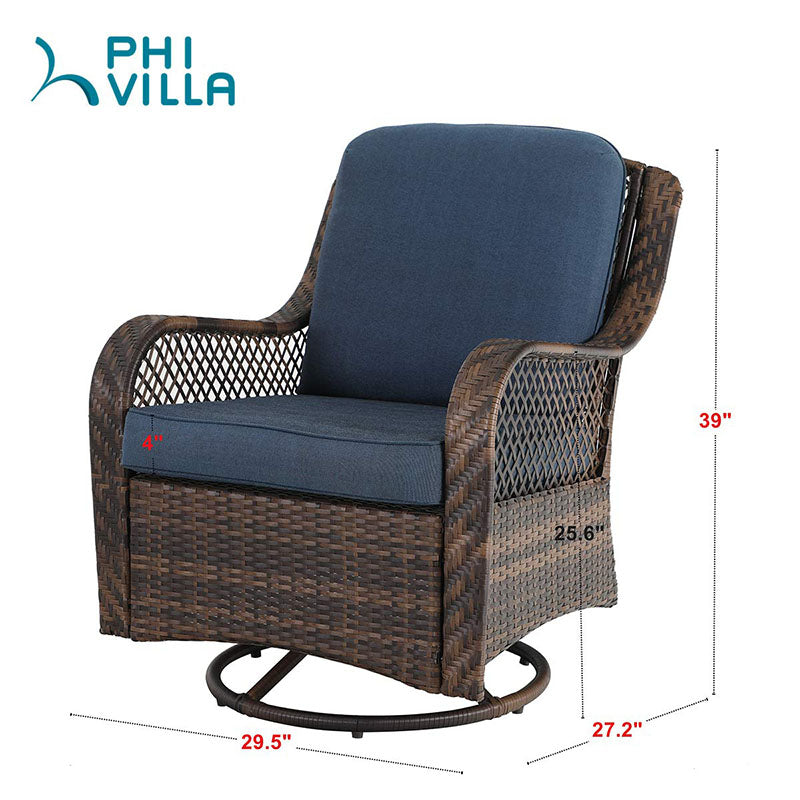 PHI VILLA 3 PC Rattan Swivel Rocking Chairs Conversation Set