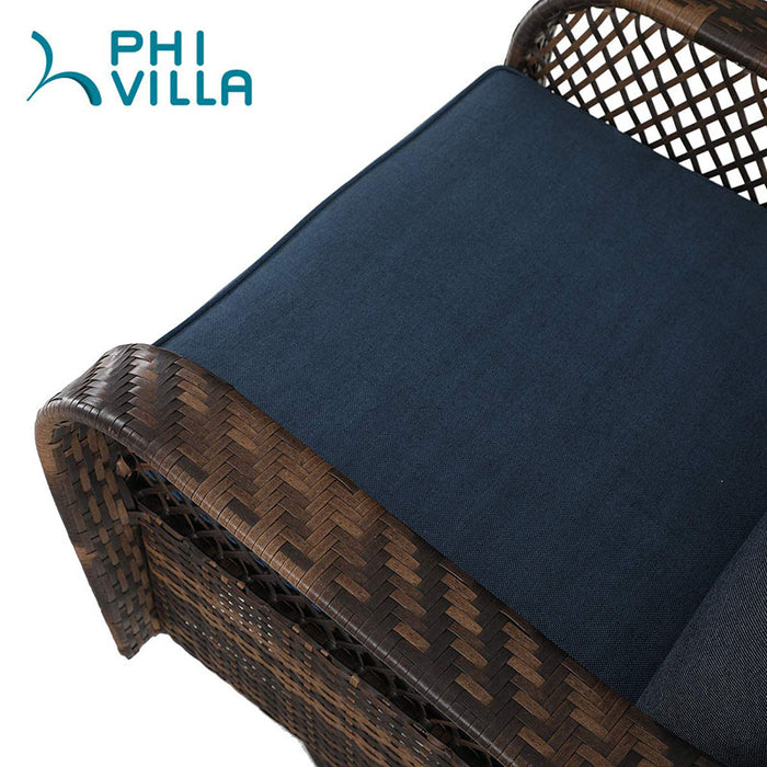 PHI VILLA Rattan 3 PC Swivel Rocking Chairs Set