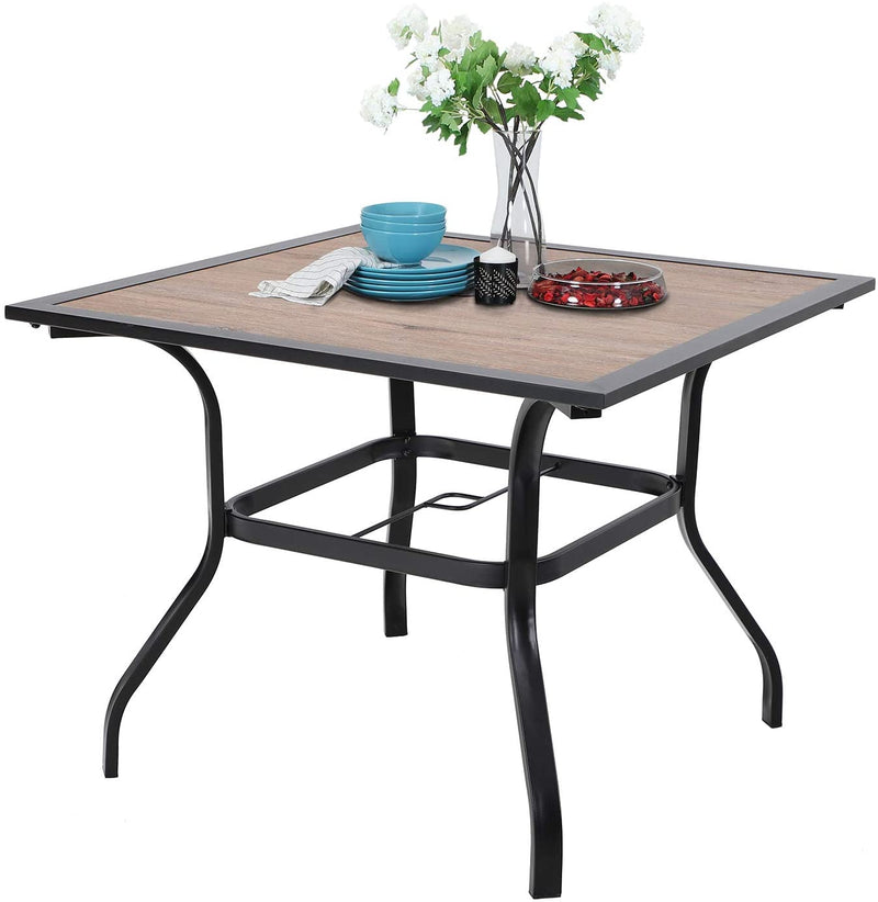 5 Piece Patio Dining Set - Wood-Like Plastic Table and Rattan Chairs
