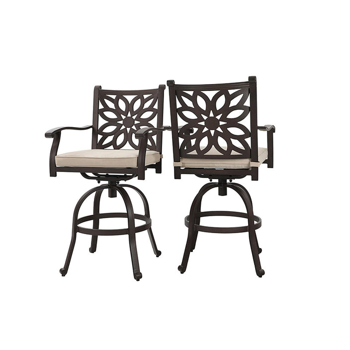 Phi Villa Cast Aluminum Swivel Bar Stools Outdoor Pub Height Bistro Chairs