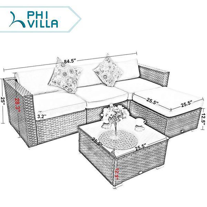 PHI VILLA 5-Piece Outdoor Sectional Sofa