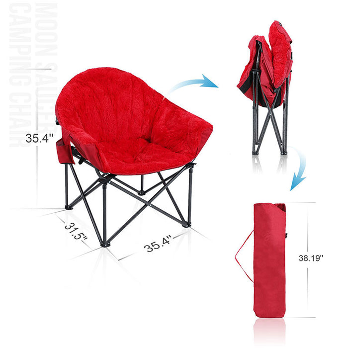 Alpha Camp Red Padded Plush Moon Chair