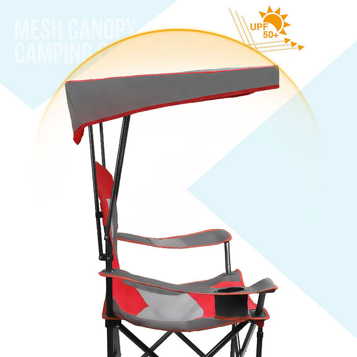 Alpha Camp Red Folding Mesh Canopy Camping Chair