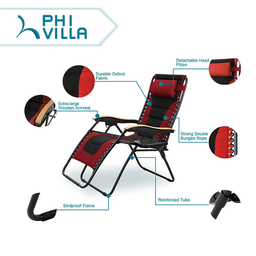 PHI VILLA Oversized Padded Zero Gravity Chair