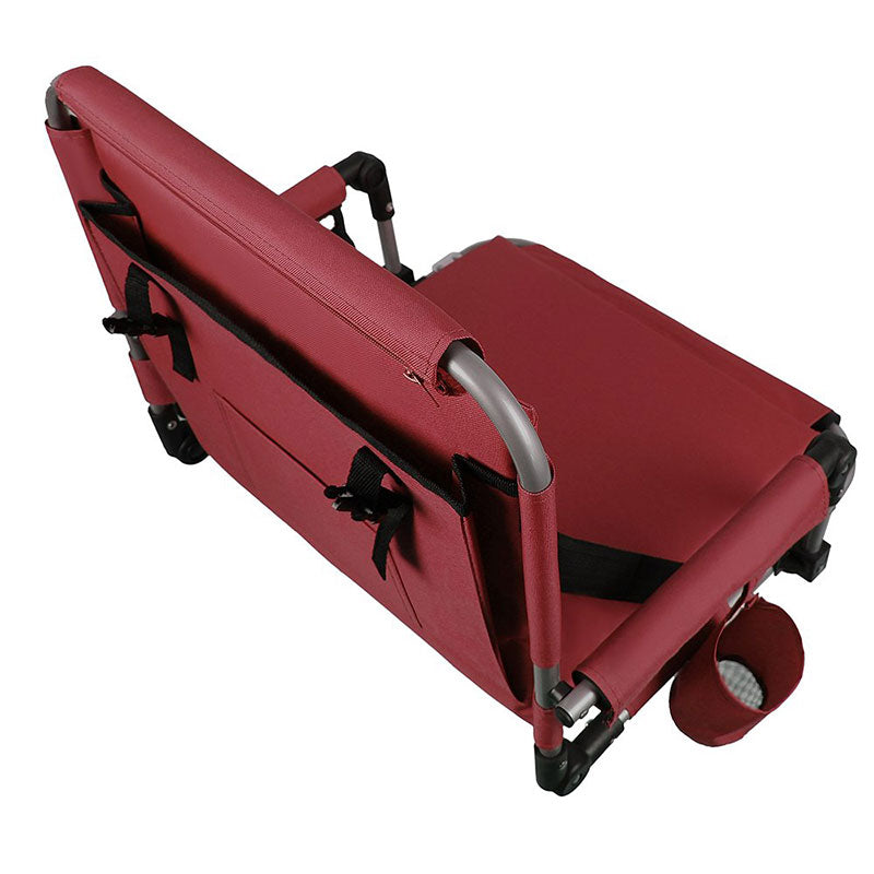 Alpha Camp Red Padded Stadium Seat Chair for Bleachers with Back??? Arm Rest