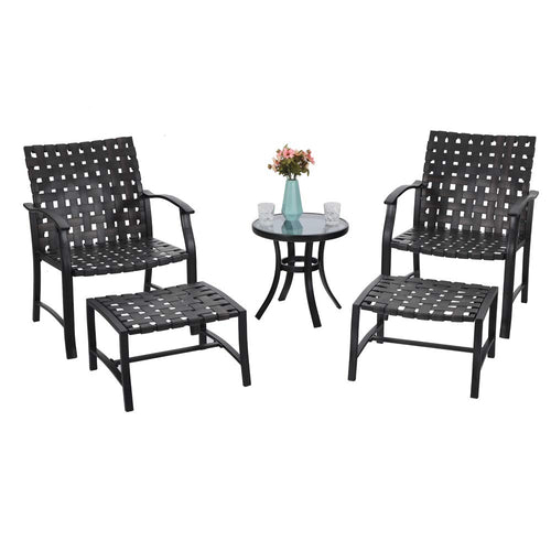 5-Piece Phi Villa Patio Conversation Set with Ottomans and Table