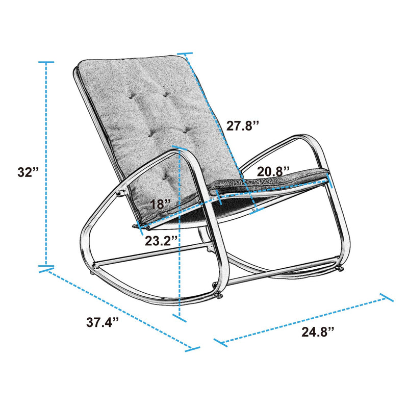 Sophia & William Outdoor Patio Rocking Chair Padded Steel Rocker Chairs Support 300lbs