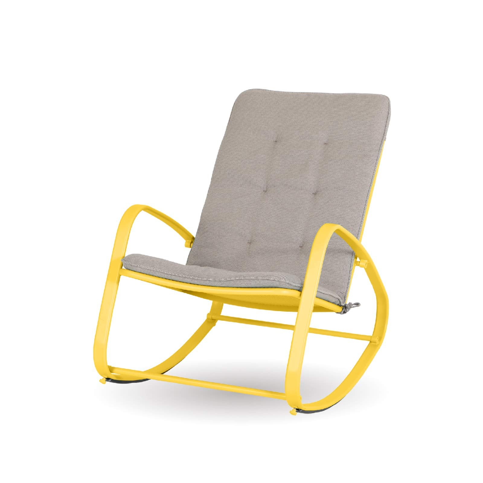Alphamarts coupon: Sophia & William Outdoor Patio Rocking Chair Padded Steel Rocker Chairs Support 300lbs Yellow