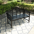 Phi Villa Patio Acacia Wood Bench with Backrest and Armrests