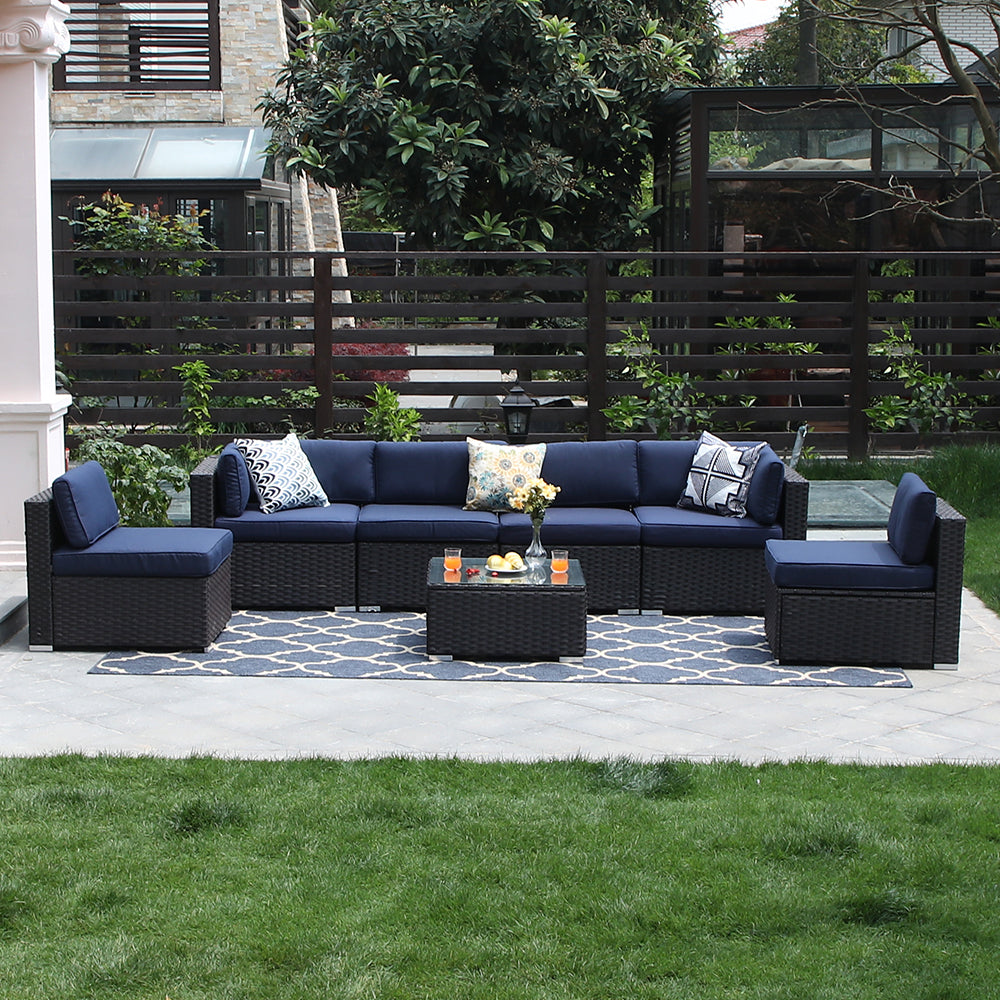 Phi Villa Patio Wicker Outdoor Sectional Sofa Blue