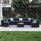 PHI VILLA 7-Piece Patio Wicker Outdoor Sectional Sofa