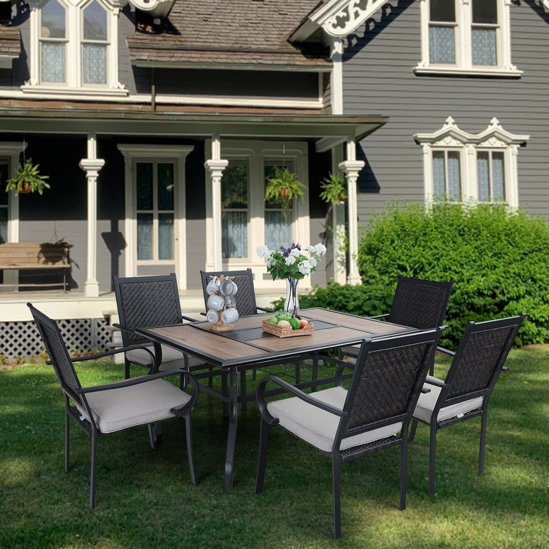PHI VILLA 7-Piece Rattan Dining Chairs & Geometric Table Outdoor Dining Set