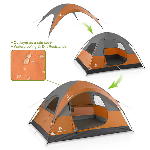 ALPHA CAMP Orange 3 Person Backpacking Camping Tent