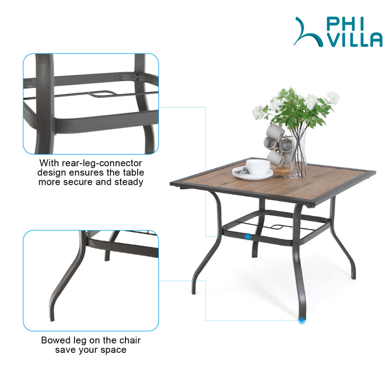 Phi Villa Wood-Look Patio Dining Table with Umbrella Hole
