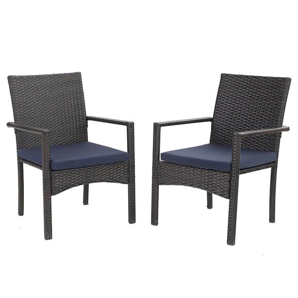 PHI VILLA Rattan Steel Cushioned Patio Chairs, Outdoor Chairs, Set of 2