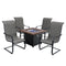 "PHI VILLA Gas Fire Pit Wood-look Square Table 34"" 50,000BTU & 4 Textilene C-Spring Chairs 5-Piece Set"