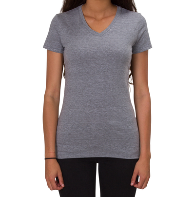 ALLMADE WOMEN'S TRI-BLEND V-NECK Aluminum Grey T-SHIRT