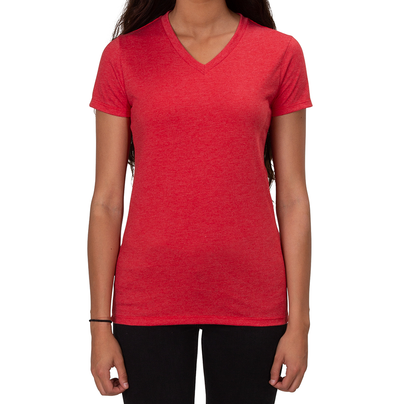 Allmade Apparel Women's V-Neck Rise up Red T-Shirt