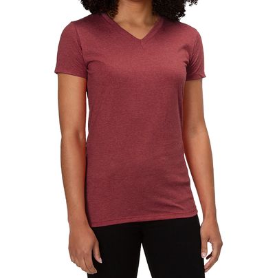 ALLMADE WOMEN'S TRI-BLEND V-NECK Vino Red T-SHIRT