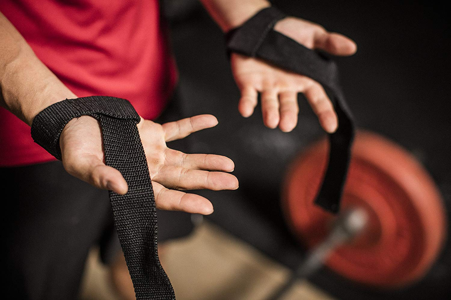 Pair Harbinger Padded Cotton Lifting Wrist Straps with NeoTek Cushioned Wrist