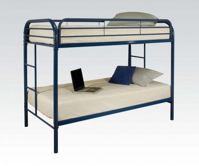 NAVY BLUE METAL FRAME TWIN BUNK BED