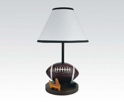 "FOOTBALL TABLE LAMP WITH WHITE SHADE & BLACK PIPING, 16""H"