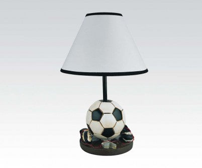 "SOCCER TABLE LAMP WITH WHITE SHADE & BLACK PIPING, 16"" H"