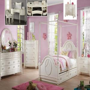 DOROTHY IVORY BED SET (TWIN BED, CHEST, DRESSER, MIRROR, NIGHT STAND - 1 DRAW)