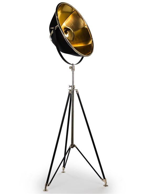 Black And Brass Large Tripod Floor Lamp-Accents & Lighting-Furniture Walk UK