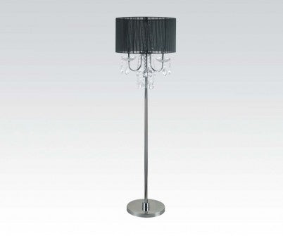 BALLROOM CHROME FLOOR LAMP WITH BLACK SHADE & BEADS