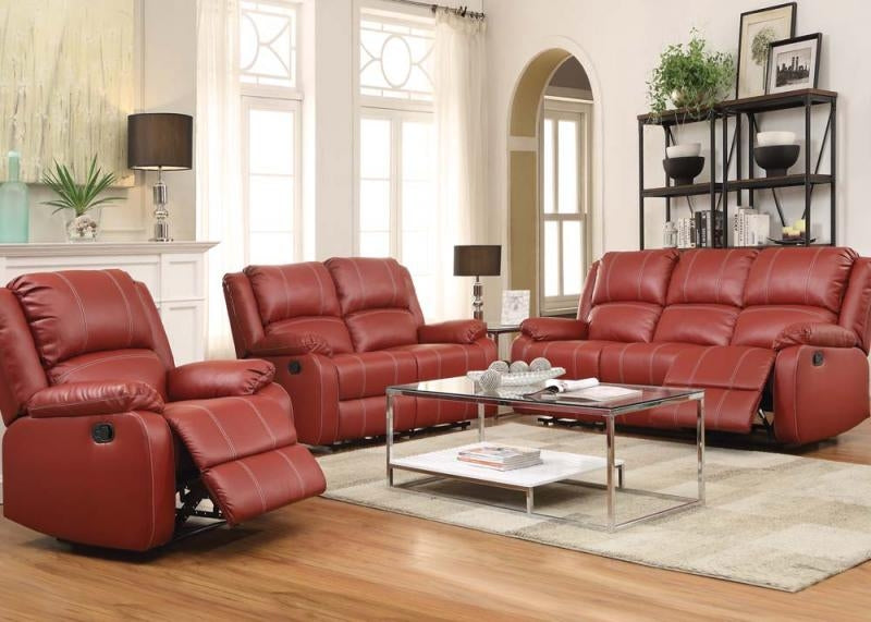 Zuriel Red Pleather Sofa, Loveseat & Chair Set