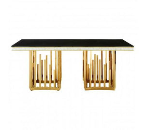 Halo Gold Finish Dining Table-Dining Room-Furniture Walk UK