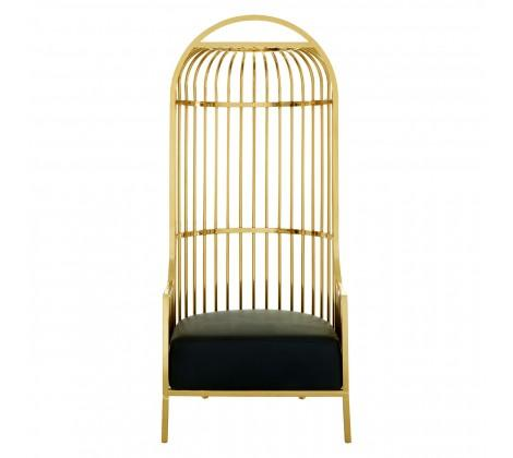Halo Gold Finish Dome Cage Chair-Living Room-Furniture Walk UK