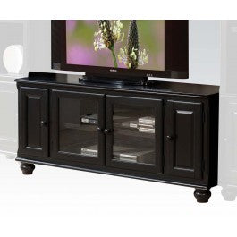Royal Black 2 Glass & 2 Wooden Door Media Storage