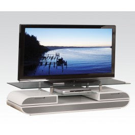 Jetson White & Gray Glass Top TV Stand