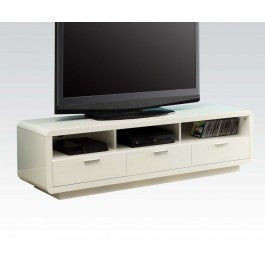 Cream TV Stand with  3 Shelves & Draws