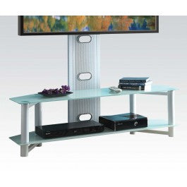 Silver Glass & Metal TV Stand