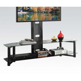 Black Glass & Metal TV Stand