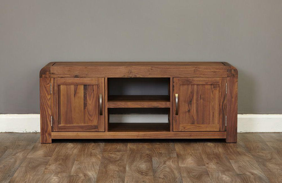 Lundy Walnut Widescreen Television Cabinet-Living Room-Furniture Walk UK