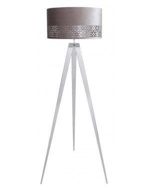 Large Chrome Hollywood Floor Lamp With Grey Shade-Bedroom-Furniture Walk UK