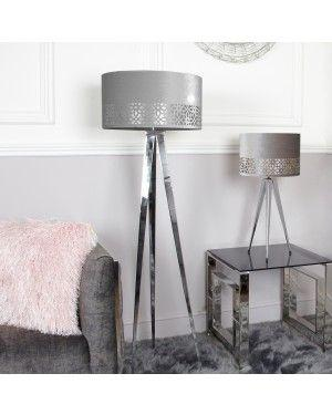 Medium Chrome Hollywood Table Lamp With Grey Shade-Bedroom-Furniture Walk UK