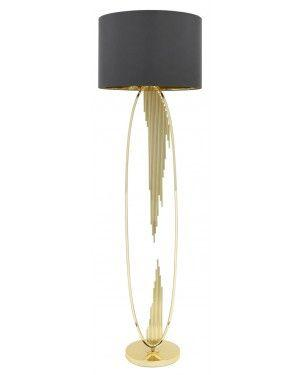 Gold Oval Abstract Floor Lamp With 18 Inch Grey Faux Silk Cylinder Shade-Living Room-Furniture Walk UK