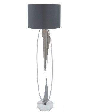 Silver Oval Abstract Floor Lamp With 18 Inch Grey Faux Silk Cylinder Shade-Living Room-Furniture Walk UK