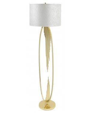 Gold Oval Abstract Floor Lamp With 18 Inch White Crocodile Velvet Cylinder Shade-Living Room-Furniture Walk UK