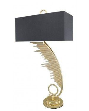 Sculptured Sweeping Gold Table Lamp With 19 Inch Grey Faux Silk Rectangle Shade-Bedroom-Furniture Walk UK